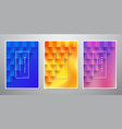 set of square textured backgrounds with 3d style vector image