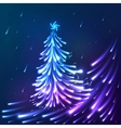 shining lights blue neon christmas tree vector image vector image