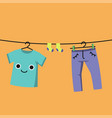 smiling baby clothes on clothes line habituate vector image