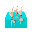 Synchronized swimmers cartoon icon vector image