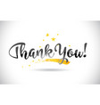 thankyou word text with golden stars trail and vector image