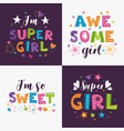 trendy girlish slogans with decorative elements vector image vector image