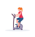 woman training exercise bike sportswoman riding vector image