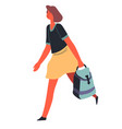 woman with satchel hurrying student or teacher vector image