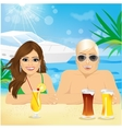 young happy couple enjoying beach holiday vector image vector image