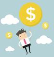 Businessman hanging money balloon vector image