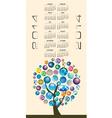 2014 Globe Tree Calendar vector image vector image