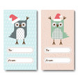a set of christmas cards invitations with owls vector image vector image