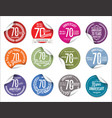 anniversary modern tag and stickers collection 70 vector image vector image