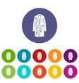 bathrobe icons set color vector image vector image