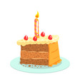 birthday cake with candle celebration party vector image