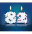 Birthday candle number 82 vector image vector image