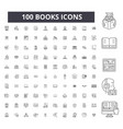 books editable line icons 100 set vector image vector image