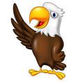 cartoon eagle waving vector image vector image