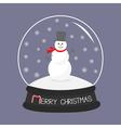 Cartoon Snowman on snowdrift Crystal ball with vector image vector image
