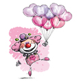 Clown with Heart Balloons Saying Thank You Girl vector image