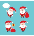Cute funny Santa Claus set Merry vector image