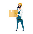 delivery service male character holding carton box vector image