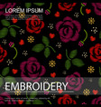 embroidery floral colorful seamless pattern vector image