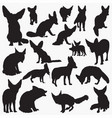 fence fox silhouettes vector image vector image