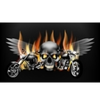 fiery motorcycles on the background of a skull vector image vector image