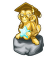 golden figurine of wise monkey with a star vector image vector image