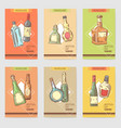 hand drawn bottles alcoholic menu design wine vector image