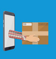 hands with postal cardboard box and smartphone vector image vector image