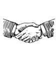 Handshake engraving on white vector image
