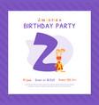 happy second birthday invitation card template vector image vector image
