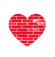 isoltted distress grunge heart with brickwork vector image vector image
