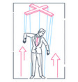 marionette businessman - line design style vector image