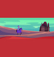 medieval castle and knight on horse cartoon vector image vector image
