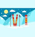 mountain ski snowboard banner flat style vector image vector image