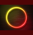 neon glowing circle frame for banner on dark empty vector image vector image