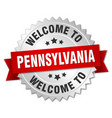 pennsylvania 3d silver badge with red ribbon vector image vector image