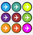 Plane icon sign Nine multi colored round buttons vector image