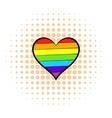 Rainbow heart icon comics style vector image vector image