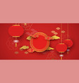 red and gold papercut chinese background template vector image