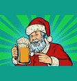 santa claus with a mug of beer foam christmas and vector image