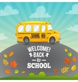 School bus and greeting text vector image vector image