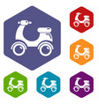 scooter icons hexahedron vector image
