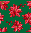 seamless pattern with poinsettia berry branch vector image vector image