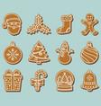set gingerbread christmas cookies vector image vector image