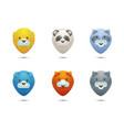 set icons wild life animals stylized portraits vector image
