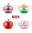 set of different ceramic teapot with flags vector image