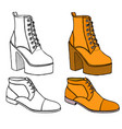 set of warm female half-boot vector image vector image