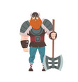 strong viking warrior with double axe vector image vector image