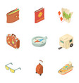 travel way icons set isometric style vector image vector image