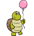 turtle with balloon cartoon vector image